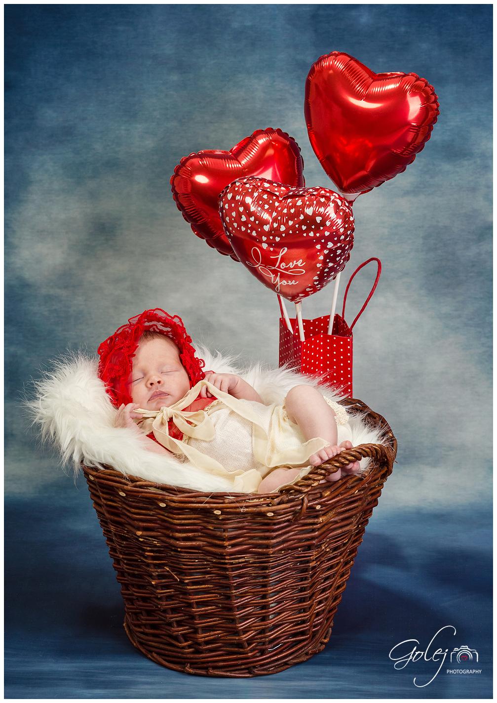 Foto novorodenca v kosiku
