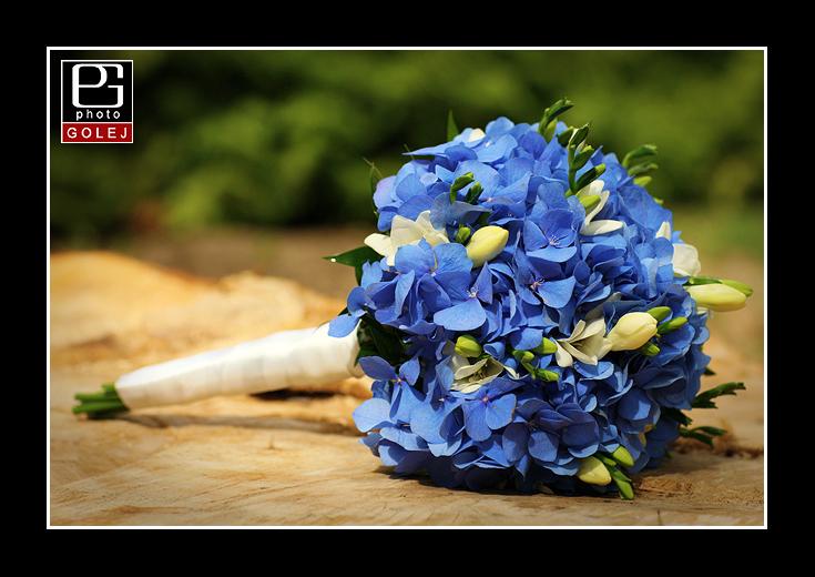 Kytica z modrych hortenzii