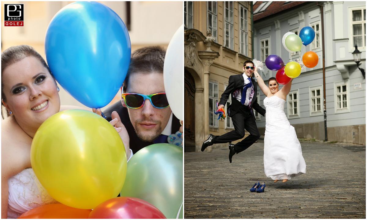 Farebne balony na svadbe